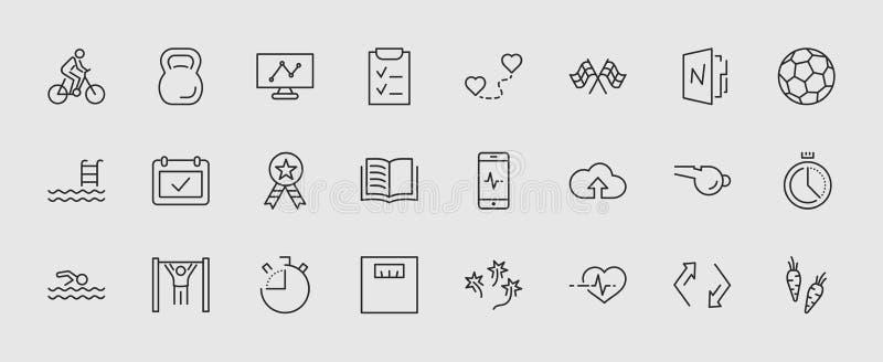 Uppsättning av konditionvektorlinjen symboler Innehåller sådana symboler som cykla, den Kettlebell sporten, fotbollbollen, hjärts royaltyfri illustrationer