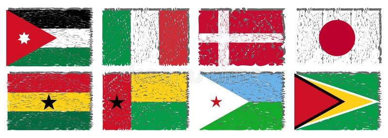 Uppsättning av konstnärliga flaggor av världen vektor illustrationer