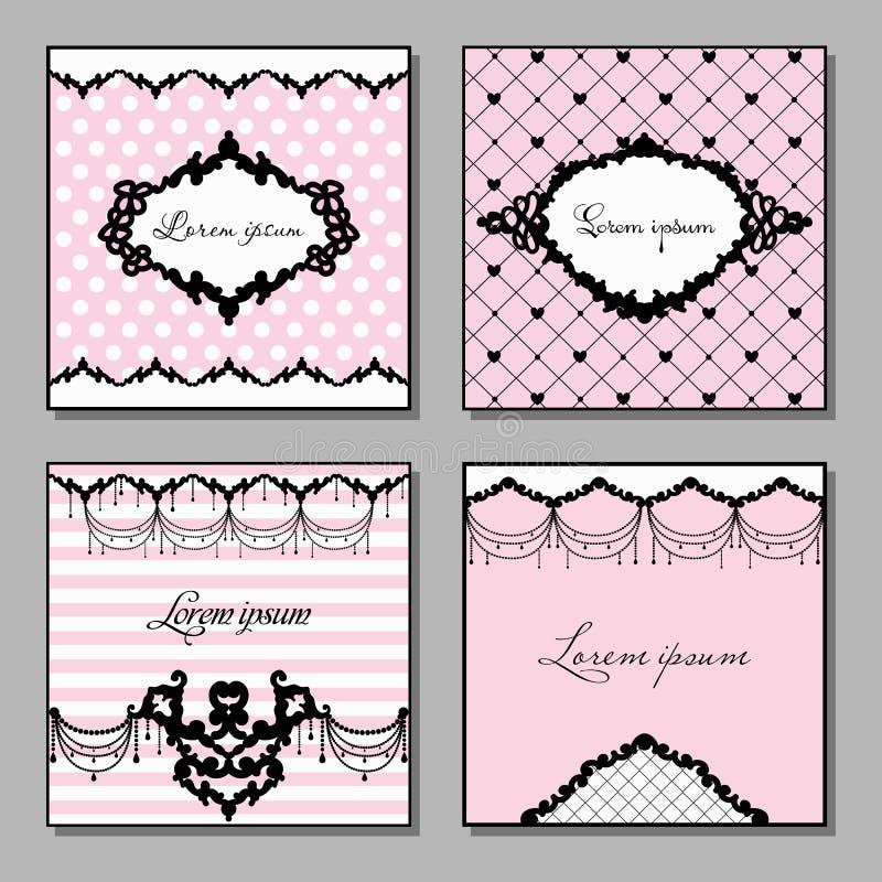 Uppsättning av konstnärliga kort i rosa färg- och svartfärger Illustration för tappningstilvektor vektor illustrationer