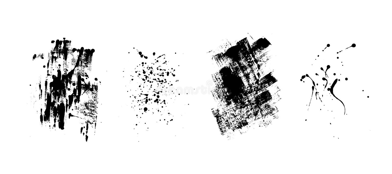 Uppsättning av konstnärliga svarta grungebakgrunder den bästa nedladdningoriginalen skrivar ut klar textur till vektorn Smutsig k stock illustrationer