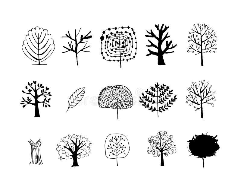 Uppsättning av konstträd för din design royaltyfri illustrationer