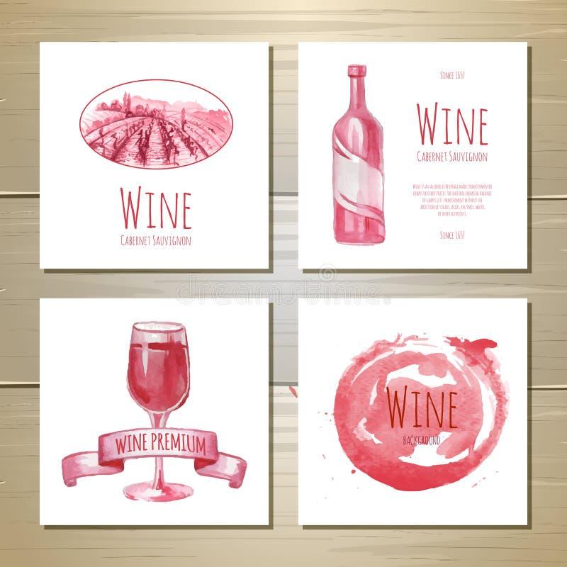 Uppsättning av konstvinbaner och etiketter stock illustrationer