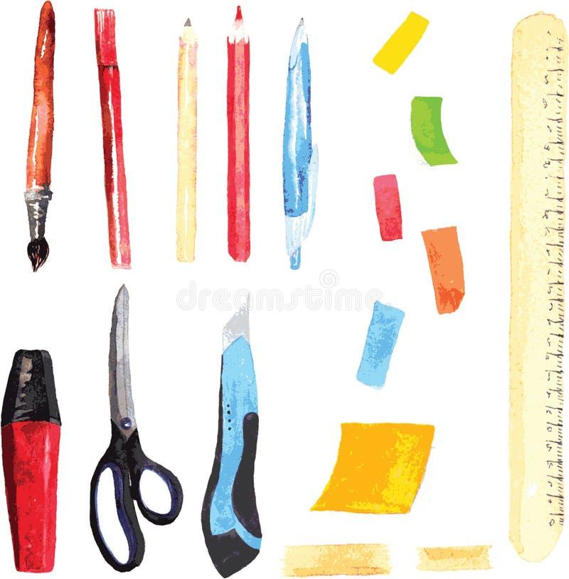 Uppsättning av kontors- och skolatillförsel som målas i den vattenfärgen - stock illustrationer