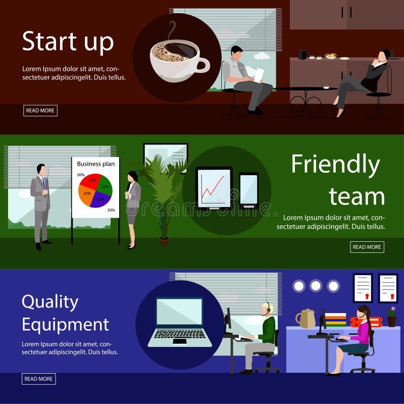 Uppsättning av kontorsbaner i plan stildesign stock illustrationer