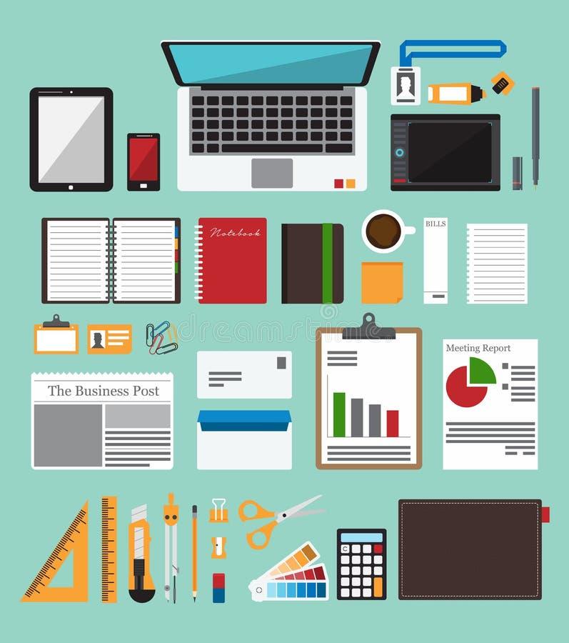 Uppsättning av kontorsutrustning i plan design Symbolssamling av objekt för affärsarbetsflöde stock illustrationer