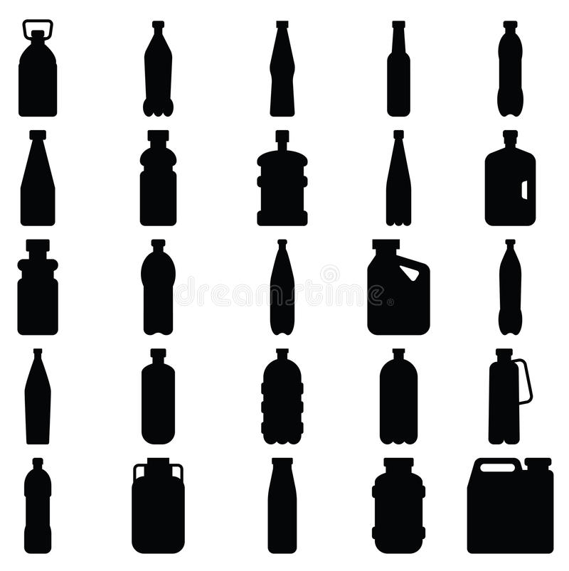 Uppsättning av konturer av plast-flaskor och andra behållare stock illustrationer