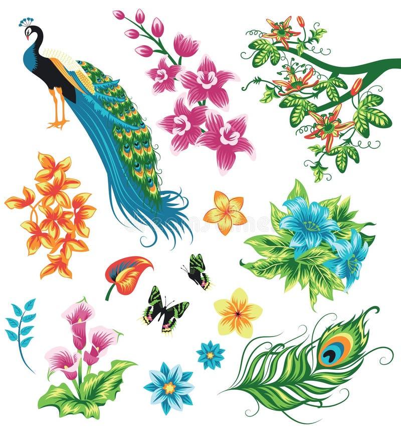 Uppsättning av konturer av tropiska växter stock illustrationer
