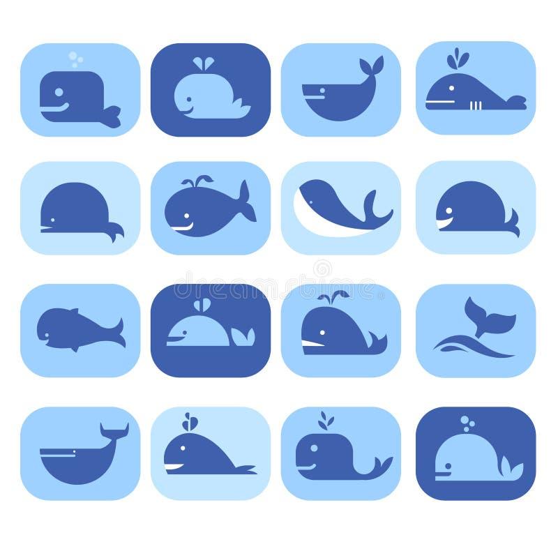 Uppsättning av konturer, delfin, val i lägenhet royaltyfri illustrationer