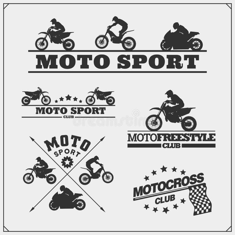 Uppsättning av konturer, etiketter och emblem för motorisk sport Motocrossbanhoppningryttare, motoförsök, motofristil och motoris vektor illustrationer