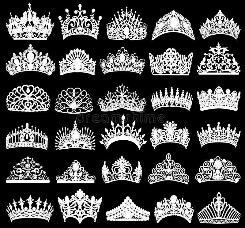 uppsättning av konturer av forntida kronor, tiaror, tiara vektor illustrationer