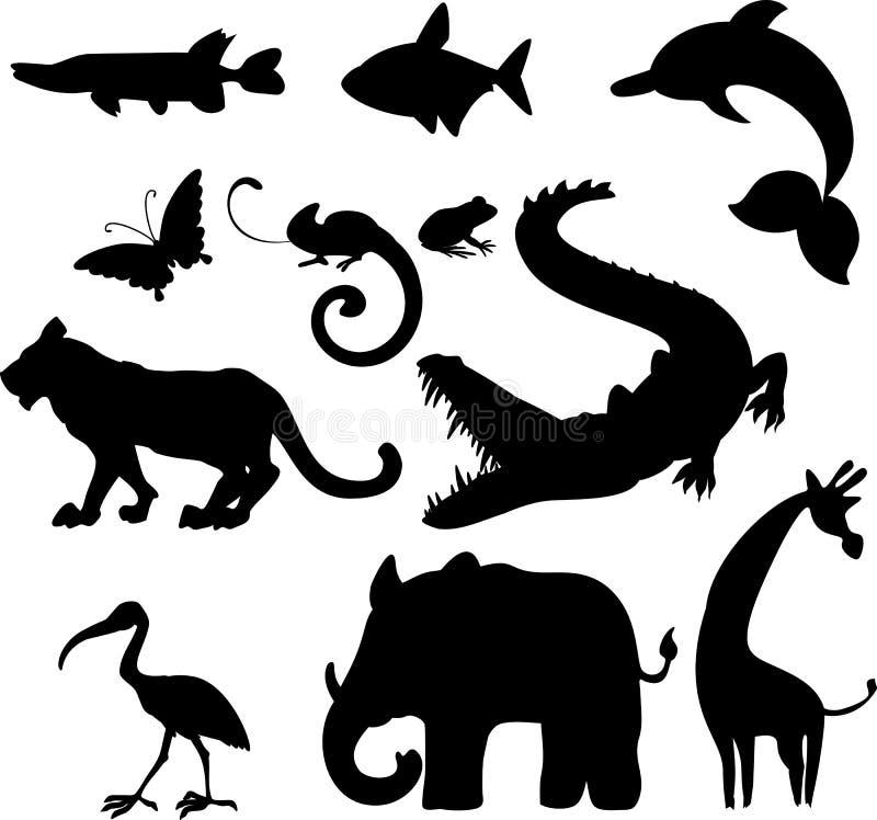 Uppsättning av konturer av olika tecknad filmdjur stock illustrationer