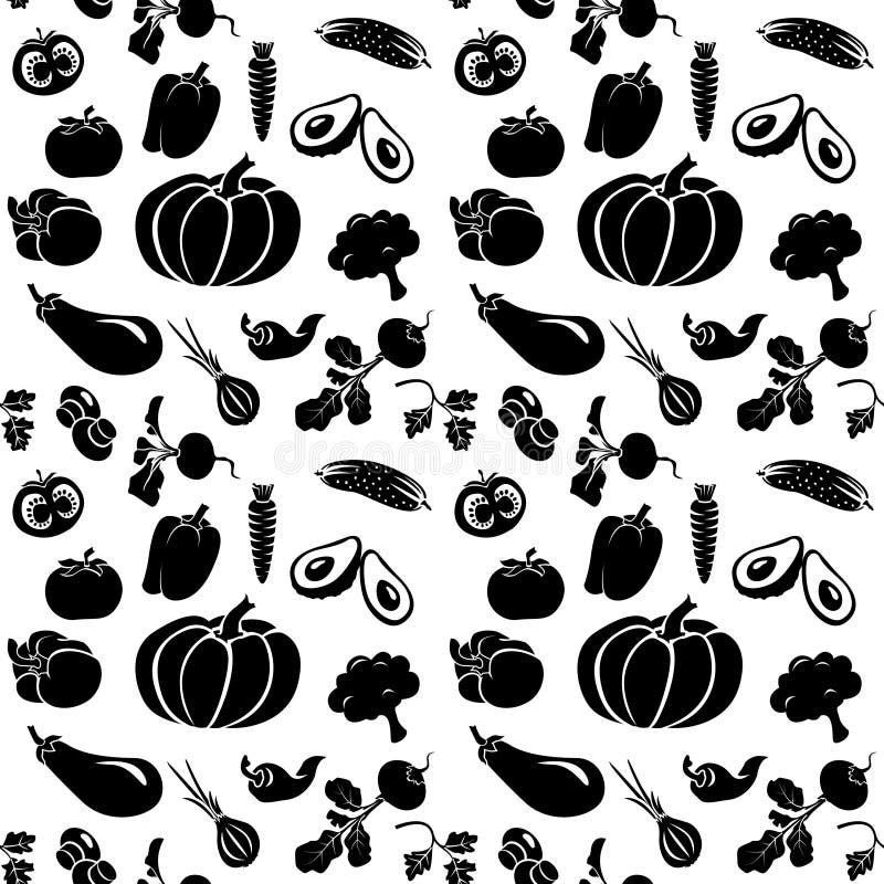 Uppsättning av konturgrönsaker royaltyfri illustrationer