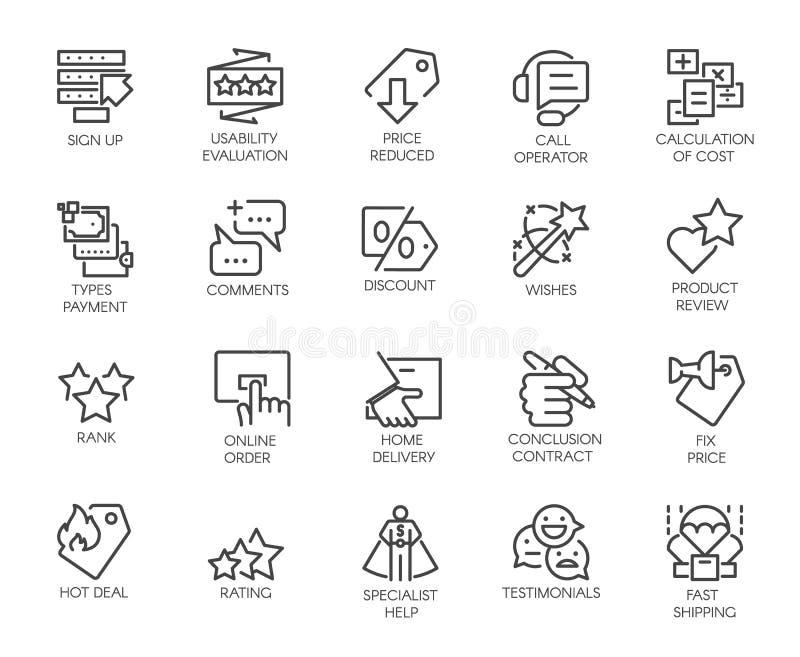 Uppsättning av 20 kontursymboler för online- eller offline-diversehandel, Instant Messenger och att boka platser och mobilapps royaltyfri illustrationer