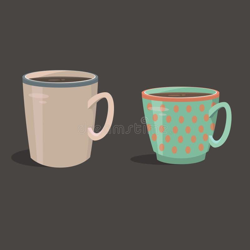 Uppsättning av koppar med te vektor illustrationer