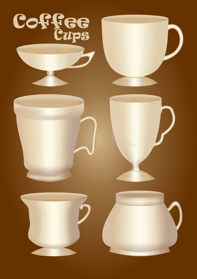Uppsättning av koppen för keramik 3d eller porslinutan garnering, designbeståndsdel för klassiska och tappningformer för diagram, royaltyfri illustrationer