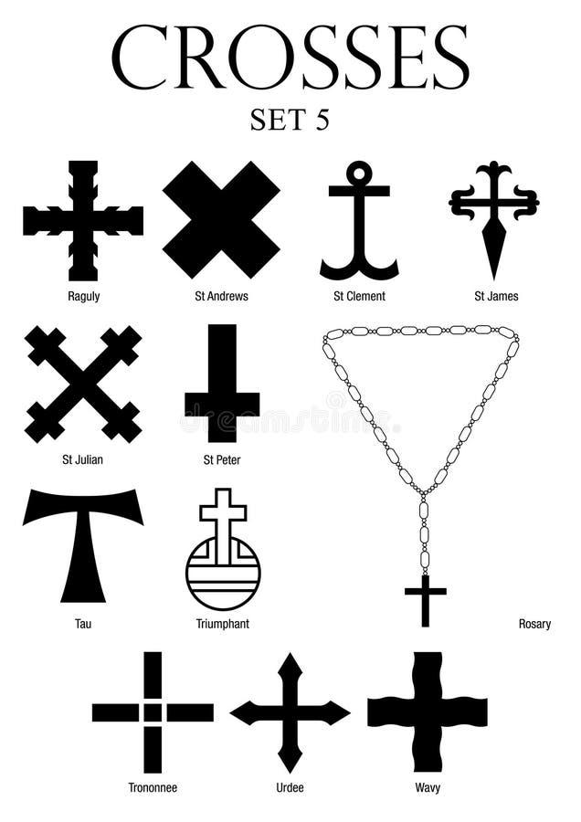 Uppsättning av kors med namn på vit bakgrund Format A4 royaltyfri illustrationer