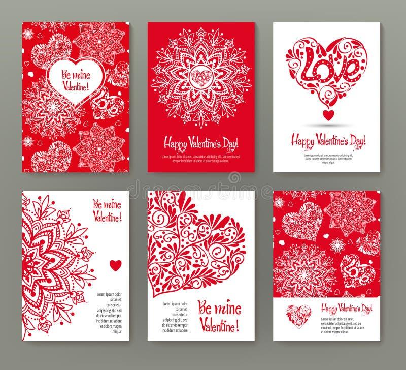 Uppsättning av 6 kort eller baner för dag för valentin` s med utsmyckad röd lo stock illustrationer