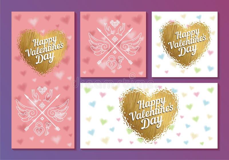 Uppsättning av kort för dag för valentin` s med hjärtor och pilar vektor illustrationer