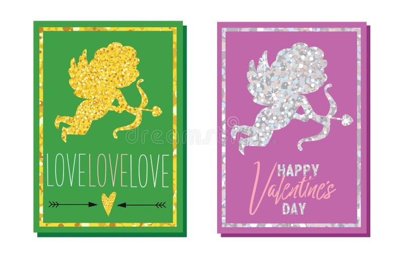 Uppsättning av kort för hälsning för dag för valentin` s Guld- och silverkupidon klar vektor för nedladdningillustrationbild vektor illustrationer