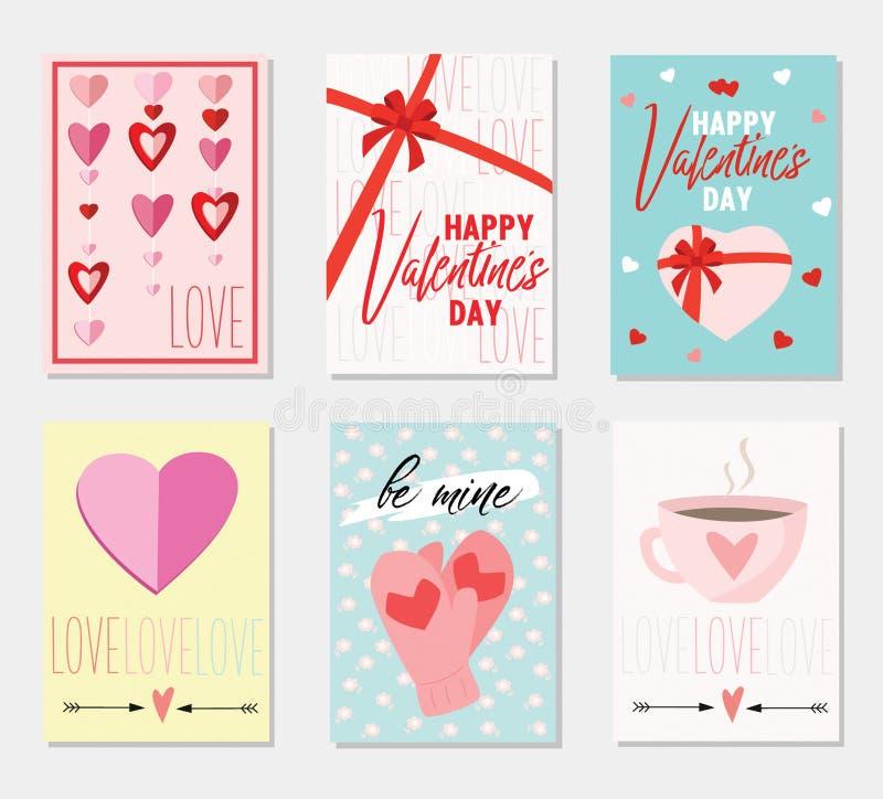 Uppsättning av kort för hälsning för dag för valentin` s klar vektor för nedladdningillustrationbild royaltyfri illustrationer