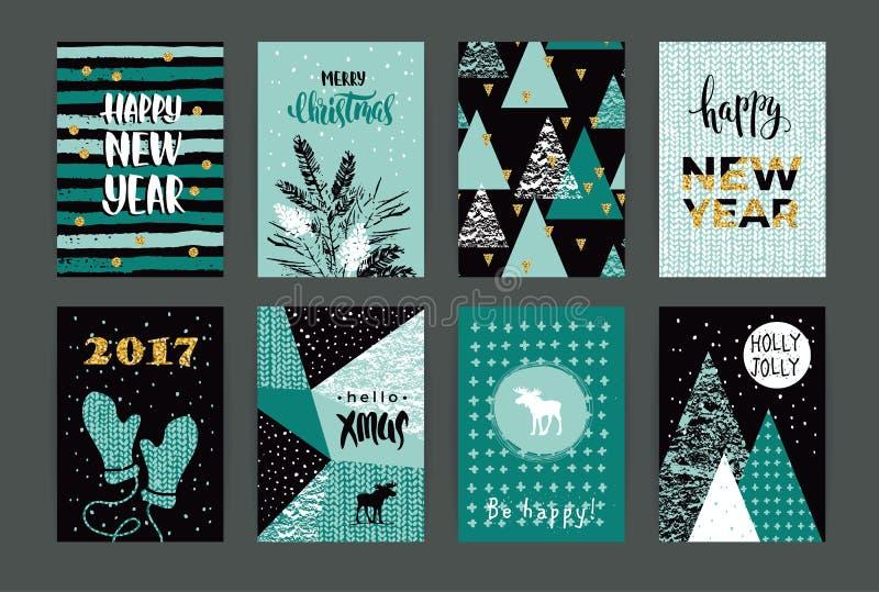 Uppsättning av kort för konstnärlig idérik glad jul och för nytt år stock illustrationer