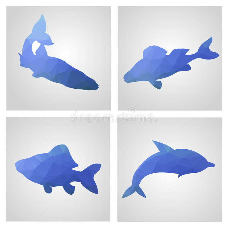 Uppsättning av kort i polygonal stil Fiskar fiske, delfin Vecto vektor illustrationer