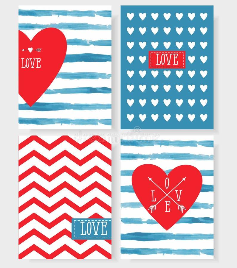 Uppsättning av korten för din design Förälskelse royaltyfri illustrationer
