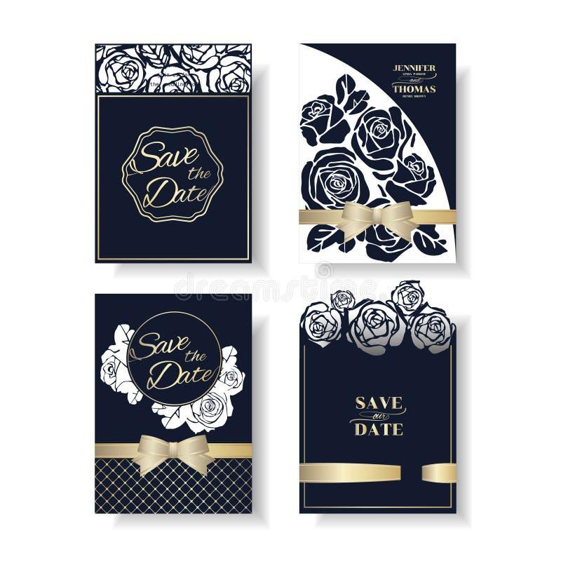 Uppsättning av kortet för inbjudan för bröllop för form för laser-snittros Marinblåa Rose Concept stock illustrationer