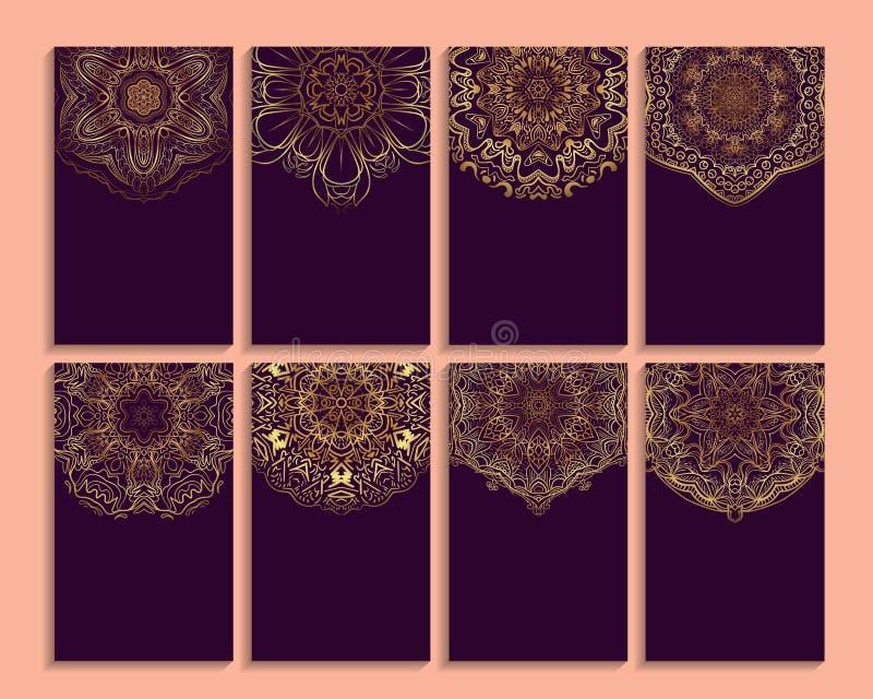 Uppsättning av kortet av inbjudan eller affären med mandalamodellen royaltyfri illustrationer