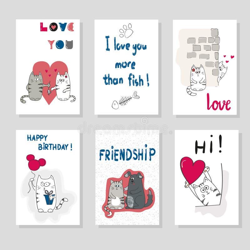 Uppsättning av kortmallar med gulliga katter förälskelsemannen silhouettes temakvinnan stock illustrationer
