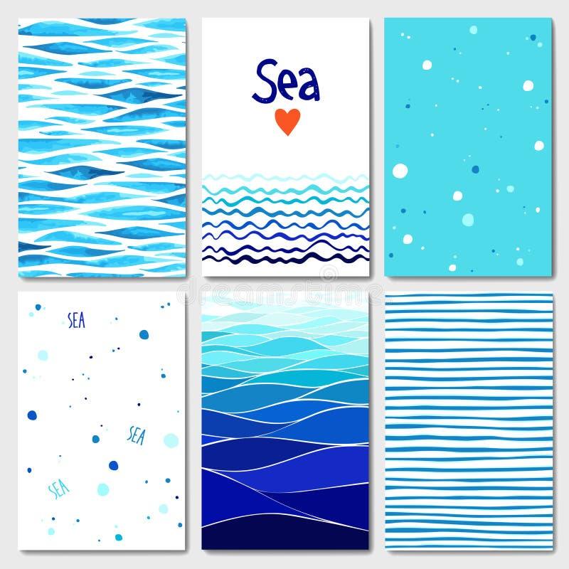 Uppsättning av 6 kortmallar med havsbakgrund stock illustrationer