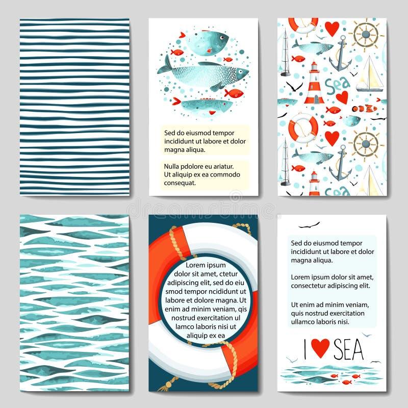 Uppsättning av 6 kortmallar med havsbakgrund vektor illustrationer