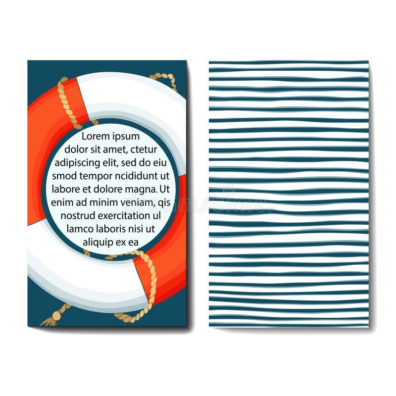 Uppsättning av 2 kortmallar med havsbakgrund vektor illustrationer