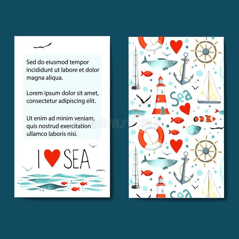 Uppsättning av 2 kortmallar med havsbakgrund royaltyfri illustrationer