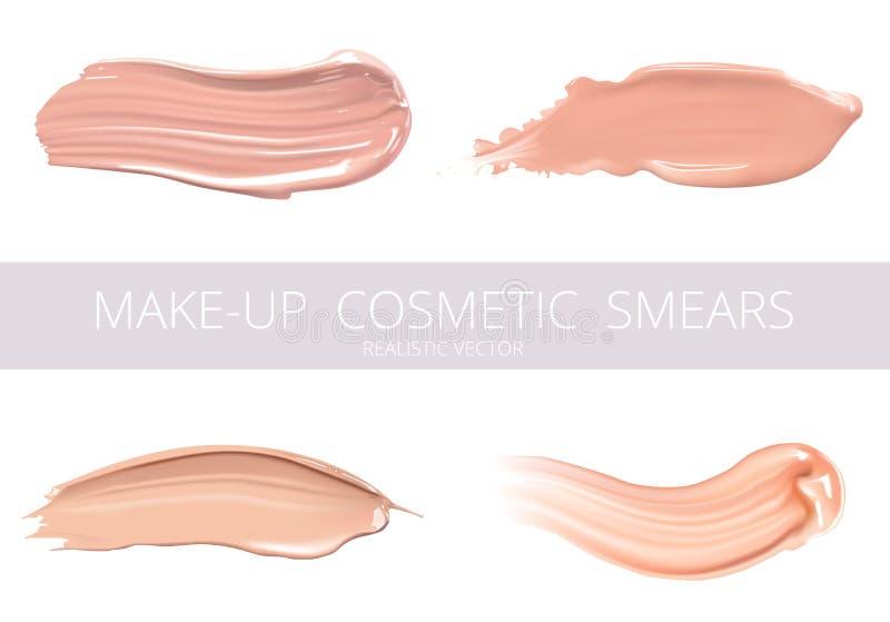 Uppsättning av kosmetisk vätskefundament- eller karamellkräm i olika slaglängder för färgfläcksudd Sminksudd som isoleras på royaltyfri illustrationer