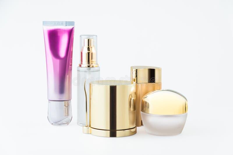 Uppsättning av kosmetiska behållare royaltyfria foton