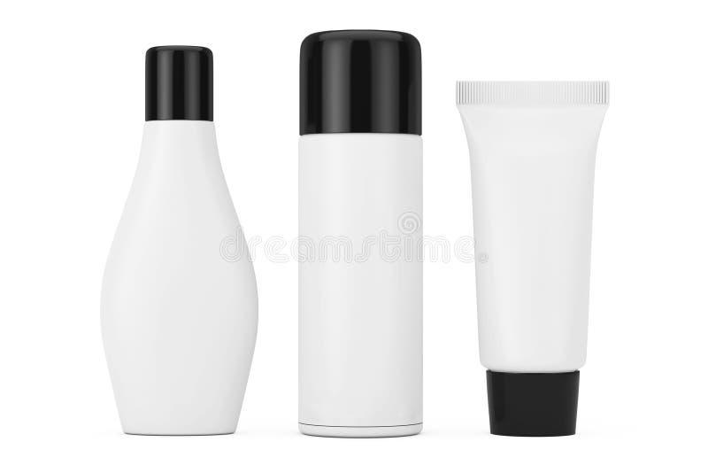 Uppsättning av kosmetiska packesamlingsprodukter med tomt utrymme för royaltyfri illustrationer