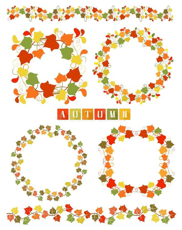 Uppsättning av kransar med färgrika Autumn Leaves stock illustrationer
