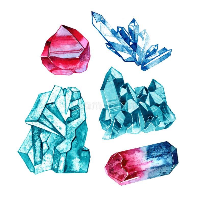 Uppsättning av kristallädelstenar i vattenfärgstil Illustration på white vektor illustrationer