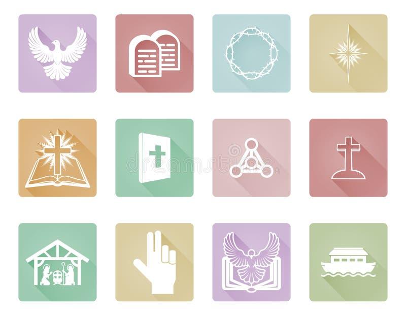 Uppsättning av kristna symboler vektor illustrationer