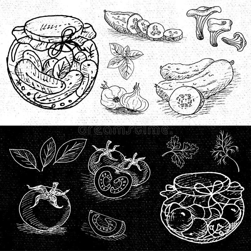 Uppsättning av krita som dras på en svart tavlamat, kryddor stock illustrationer