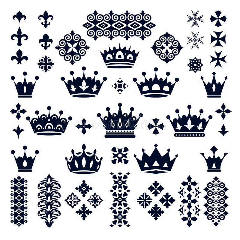 Uppsättning av kronor och dekorativa beståndsdelar royaltyfri illustrationer