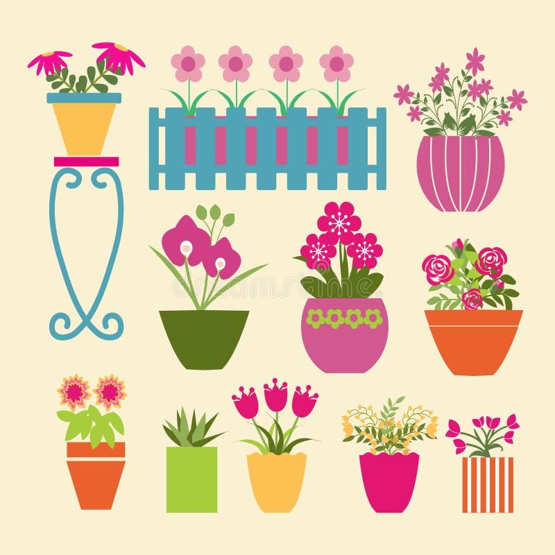 Uppsättning av krukväxtträdgårdblommor och örter stock illustrationer