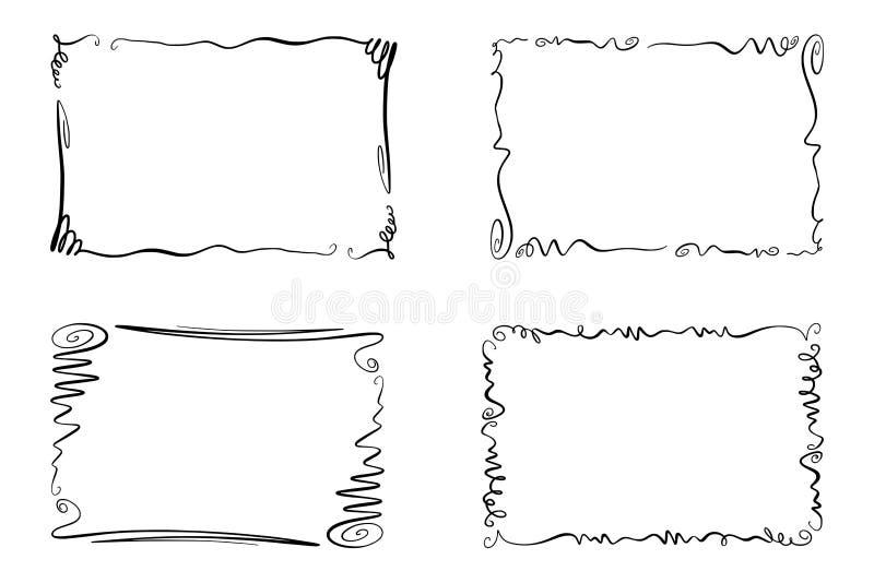 Uppsättning av krusidullvektorramar Samling av rektanglar med squiggles, piruetter och smyckningar för bild och text stock illustrationer