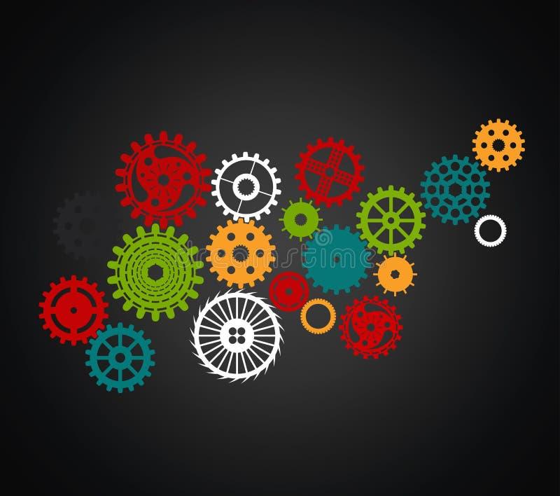 Uppsättning av kugghjul av olika format och former, full färg på svart vektor illustrationer