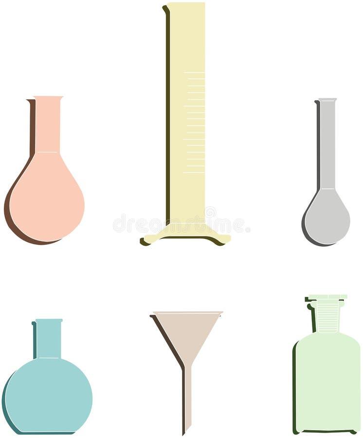 Uppsättning av kulör kemisk glasföremål med skugga 1 vektor illustrationer