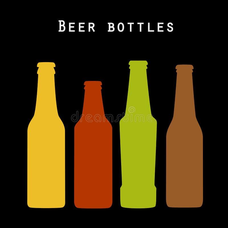 Uppsättning av kulöra ölflaskor vektor illustrationer