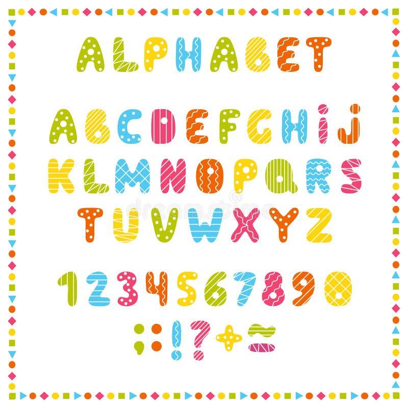 Uppsättning av kulöra bokstäver och nummer Barns alfabet Stilsort för ungar Ljusa färger, rosa färger, blått, gräsplan, guling på vektor illustrationer