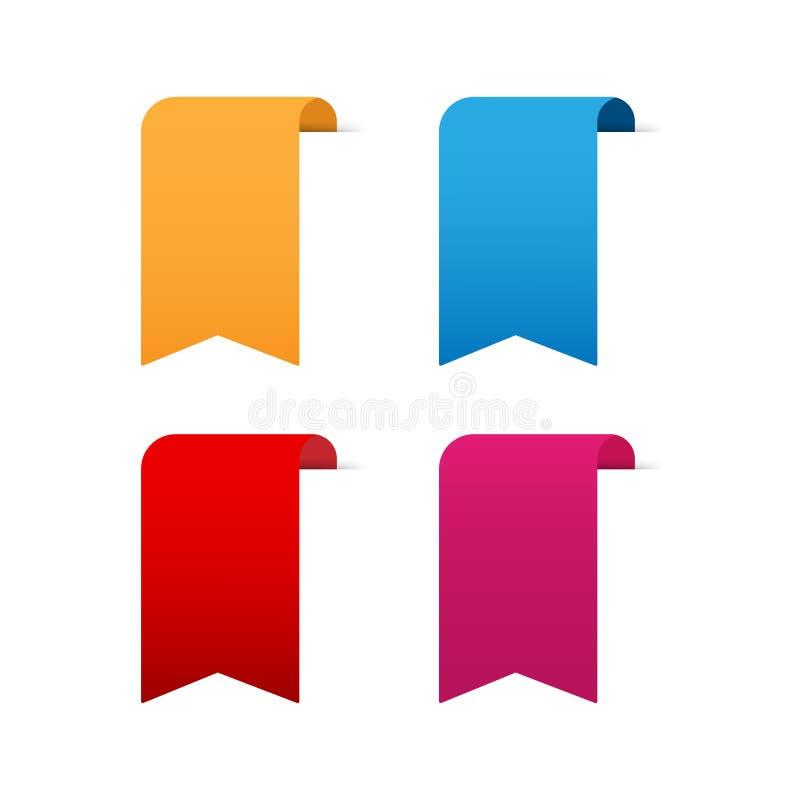 Uppsättning av kulöra dekorativa band, etiketter, flaggor eller bokmärker också vektor för coreldrawillustration vektor illustrationer