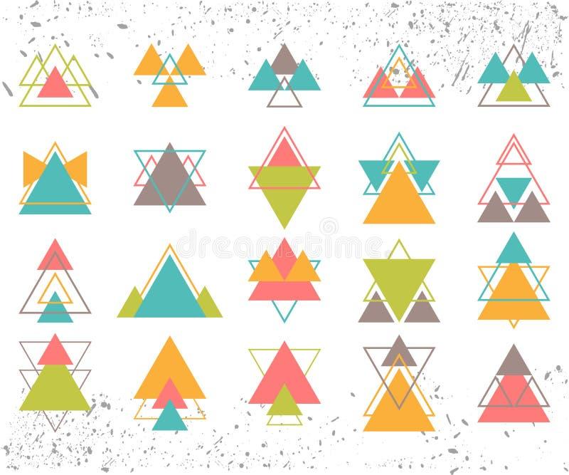 Uppsättning av kulöra geometriska formtrianglar, linjer för din design stock illustrationer